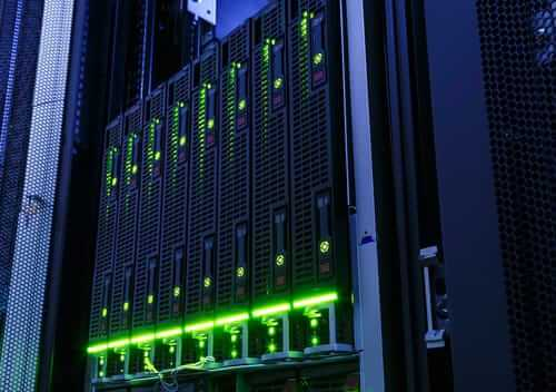 Servers with green lights