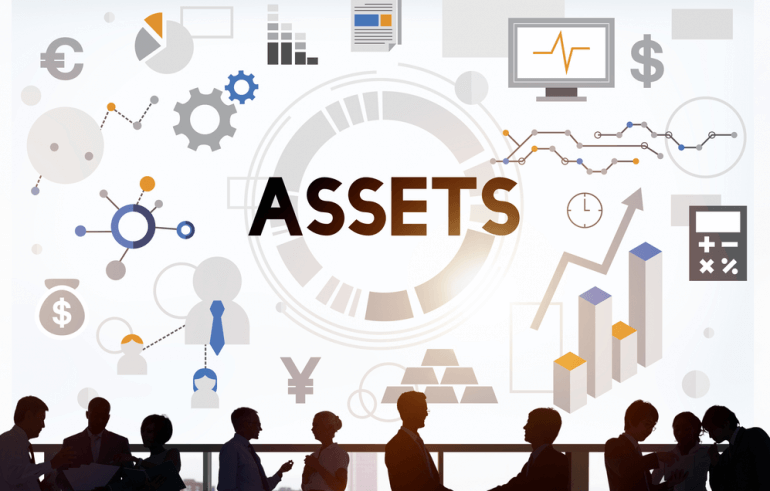 People surrounded by assets