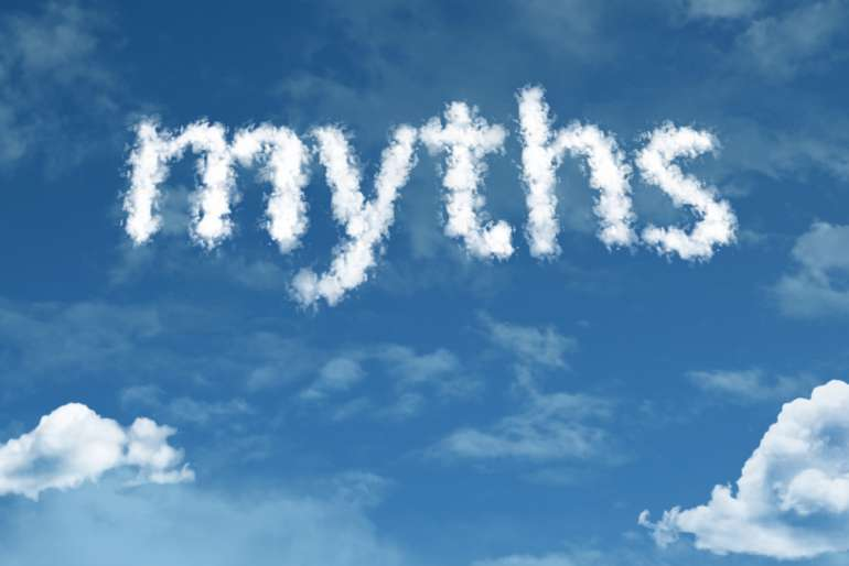 The word 'myths' written with clouds