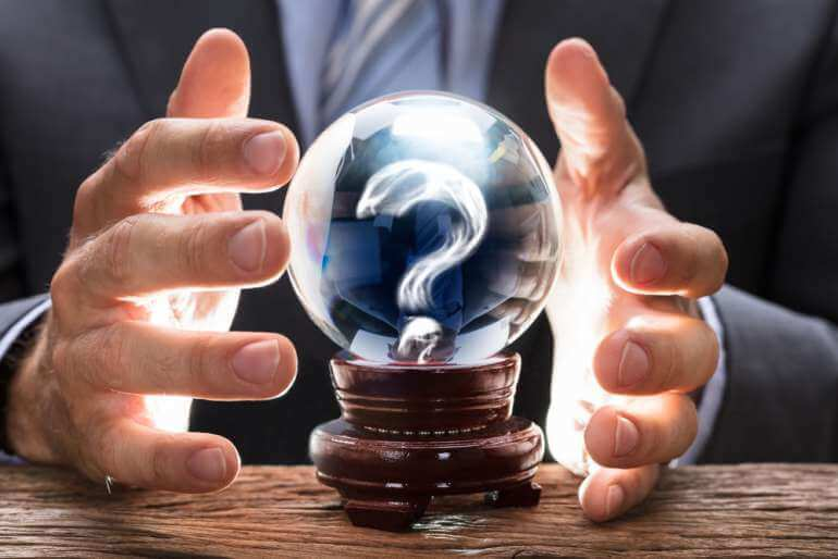 Question mark in crystal ball