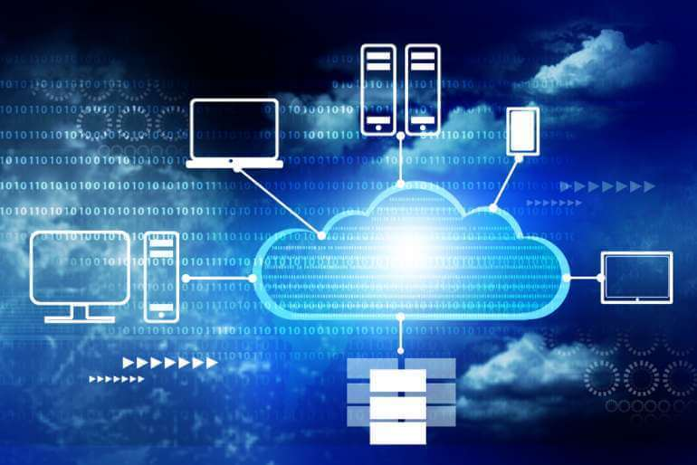 Cloud illustration with connected devices